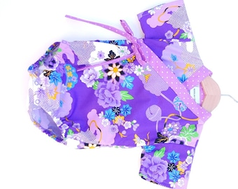 Baby Kimono Bodysuit - Purple Asian Floral - baby toddler - cool baby clothes japanese jinbei