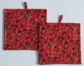 Delicious Red Cherry Pot Holders Set of Two