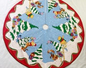 Winnie the Poo Quilted Christmas Tree Skirt Juvenile Multi-color with Red