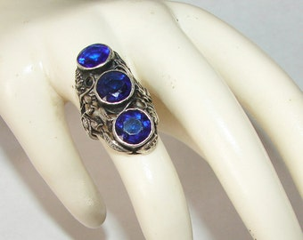 Free Shipping Art Deco Raised Roses Big & Bold Blue Sapphire Vintage Sterling Silver Statement Ring