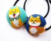 Button Ponytail Holders - Shiba Inu - Hair Accessories / Ties and Elastics