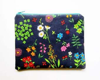 Zipper Pouch - Floral on Dark Navy - Available in Small / Large / Long