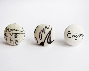 Button Earrings / Clip On Earrings / Stud Earrings - Mix and Match Earrings in Words - Set of 3