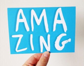 Amazing - Brush Lettering Type Card
