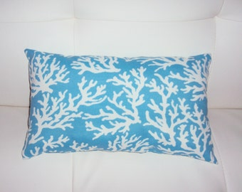 FREE SHIPPING 15x8 Indoor Outdoor Coastal Blue and White Coral Print Lumbar Pillow