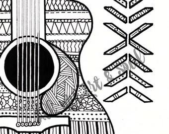 Adult Coloring Page - Guitar - Instant Download - Zentangle - Doodle Illustration - DailyDoodler - Unique Guitar Music Illustration