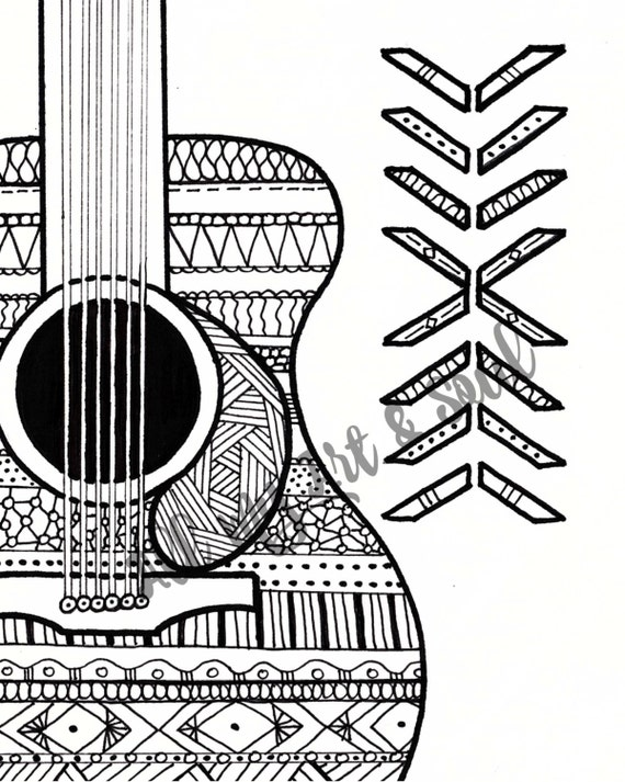 musical coloring pages for adults - adult coloring page guitar instant download zentangle