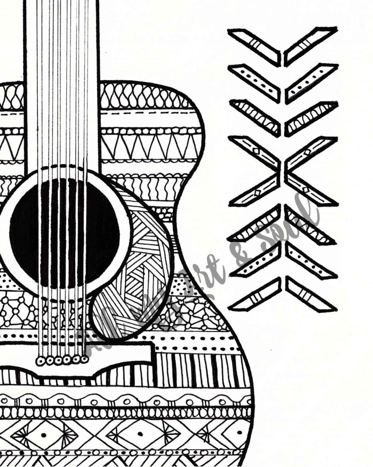 Adult Coloring Page Guitar Instant Download Zentangle