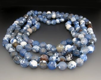 Long Blue Beaded Gemstone Necklace / Blue Agate / 60 inches / Long & Layered / Gifts for Her / Summer Jewelry / Statement Necklace