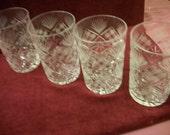 "Soviet Vintage Set 4 Russian Cut Crystal Water  Glasses/Tumblers  Hot/cold drinks fits ""PODSTAKANNIK"""
