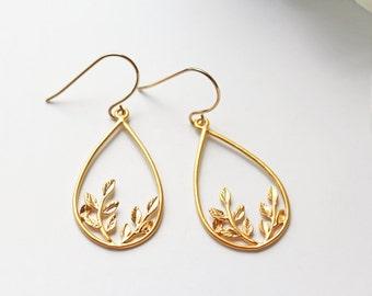 Matte Gold Leaves Earrings Titanium Modern Boho Nickel Free