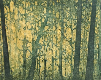 Original Mounted OOAK Woodblock Forest No. 9 Print - Hand Pulled Fine Art Print - Ready To Hang Wall Art Forest