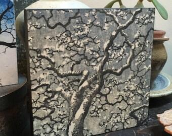 Original Mounted OOAK Woodblock Print Tree - Hand Pulled Fine Art Print - Ready To Hang Wall Art Tree