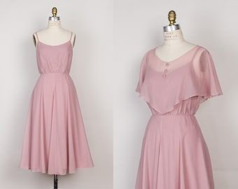 1970s Rose Pink Chiffon Dress with Matching Capelet - 70s Vintage Formal Dress by Jac-An - S