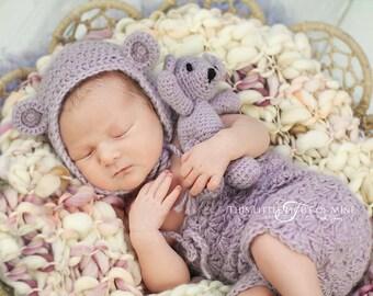 Baby Romper And Bonnet Set - Mohair Bonnet - Mohair Romper - Mohair Mini Bear - Newborn Photo Prop Romper - Baby Outfit - Bear Outfit