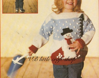 Child's Christmas jumper knitting pattern. Instant PDF download!