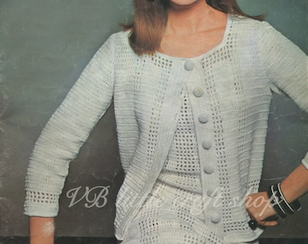 Lady's dress and jacket crochet patterns. Instant PDF download!