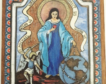 Religious Catholic Art virgin Mary Blessed Mother Our Lady Virgin Most Powerful Housewarming gift family gift idea - Retablos Retablo