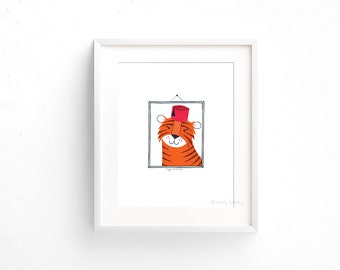 Tiger in a Fez (100 Animals in Hats Series) - Giclee print of original collage illustration - 8 x 10in