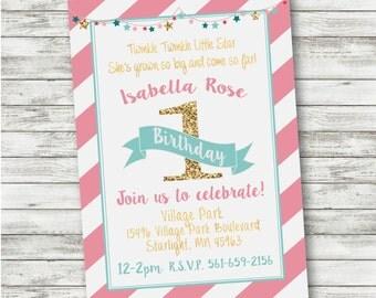 Twinkle Twinkle Little Star Birthday Invitation - Glitter Stars Birthday - First Birthday - Pink Turqoise Invitation - DOWNLOAD and PRINT!