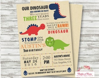 Dinosaur Birthday Invitation -  Dinosaur Party  Invitation - Dinosaur Printable Invitation - T Rex Dinosaur Party Supplies - PERSONALIZED