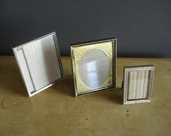Brass Frame Trio - Set of Three Small Vintage Brass Picture Frames