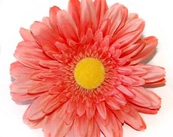 1 Salmon Peach Gerbera Daisy - Artificial Flowers, Silk Flower Heads