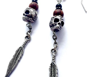 Silver Sugar Skull Earrings, Black Glass, Wood, and Feather Dangle Earrings