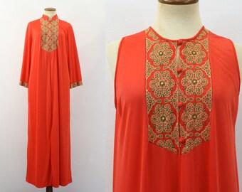 1970s Nightgown Robe Set Orange Nylon Embroidered Maxi Night Gown Lounger Sleep Caftan 1970s Long Tunic Pajamas Retro PJs Silky Nehru Medium