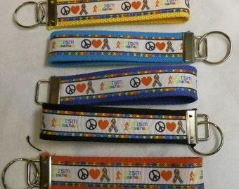 Peace Love Autism Awareness Ribbon Key Fob Wristlet