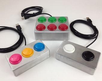 USB Button - Multi-button controller box - Select Colors - Go button - Arcade style