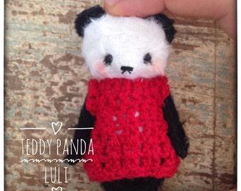 2 inch Artist Handmade Pocket Sized Miniature Teddy Panda Luli by Sasha Pokrass