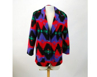 Southwestern jacket fleece jacket coat blazer red black purple western style DWSF Size S/M 1980s