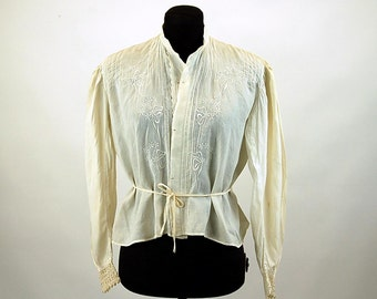 Embroidered Edwardian blouse ivory cotton pintucks crocheted lace cuffs tie at waist Size M