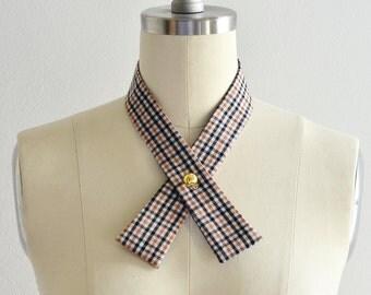 Pickled Retro • Classic Plaid • Crossover Tie • Womens Women • Cross Tie • Necktie • Criss Cross Tie  • Red • Fashion Accessories