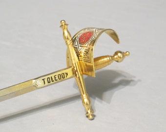 Toledo Sword Letter Opener / Sabre with Gold & Enamel Handle Chromed Blade, Vintage Mail Opener Envelope Opener Paper Knife Desk Accessory