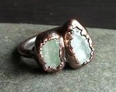 Aquamarine Ring Rough Stone Jewelry Raw Crystal Dual Stone Aquamarine Ring Copper Gemstone Ring Size 9 Ring March Birthstone