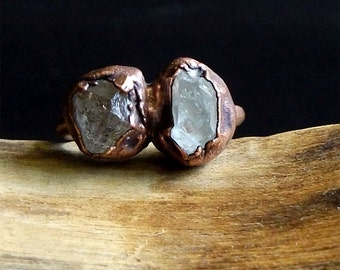 Raw Crystal Tibetan Quartz Ring Dual Stone Ring Size 6 Rough Stone Jewelry