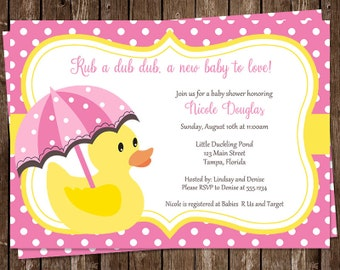 Rubber Ducky, Baby Shower Invitations, Pink, Girls, Polka Dots, Yellow, Umbrella, 10 Printed Invites, FREE Shipping, Little Ducks, Custom