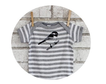 Chickadee Infant Bodysuit, Little Bird, Grey and white striped Baby Onepiece, Baby shower Gift, Baby Clothes, Short Sleeved, Cotton Shirt