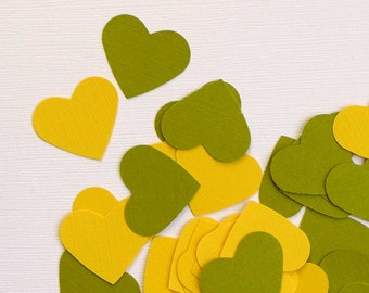 100 daisy and olive wedding hearts - textured paper die cut hearts - one inch heart - table paper heart confettis - celebration