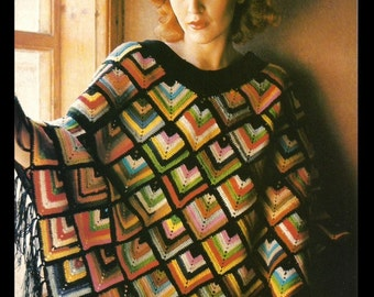 Misses Poncho Pattern - Harlequin Design - Crochet - PDF 7616125 - Instant Download