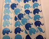 50 pc Paper Elephant Stickers Blue and light Blue   Baby Shower  Table Decorations