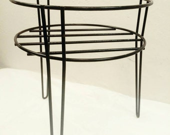Mid Century Mod Hairpin Metal Black Enamel Plant Stand