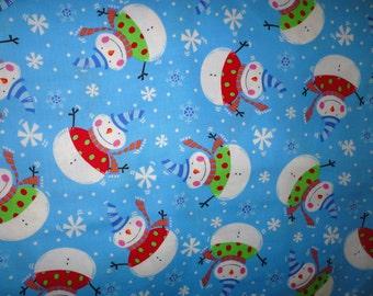 Studio E Chubby Snowman Winter Fun On Blue Quilt Craft Fabric