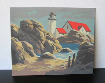 Paint by Number Vintage Rocky Coast Craft Master Lighthouse Mid Century 1963 PBN Unframed Painting