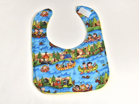 SALE - Cute Baby Bib For Boy or Girl Bib, Camping, Colorful Infant Baby Shower Gift, Flannel Backing Feeding or Drool