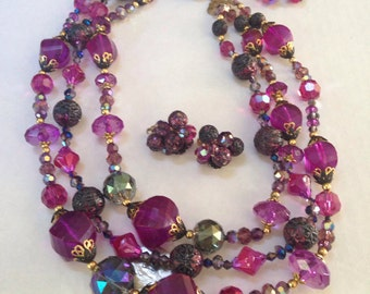 Vendome Purple Lucite Glass Bead Necklace and Earrings