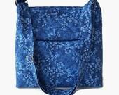 Blue Fabric Cross Body Purse - Womens Messenger Bag - Blue Shoulder Bag - Outside Pocket - Adjustable Strap - Womens Cross Body Bag