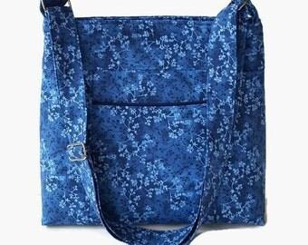 Blue Fabric Cross Body Bag Purse - Womens Messenger Bag - Blue Shoulder Bag - Outside Pocket - Adjustable Strap
